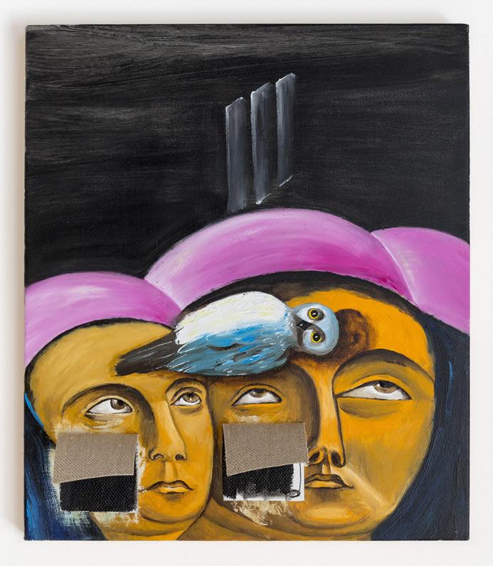 Enzo Cucchi, Entra in testa, 2016, olio su tela, 35x30 cm. Courtesy dell'artista e ZERO..., Milano. Foto Roberto Marossi