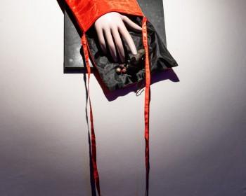 31_Cinzia Ruggeri, Mano con borsa, n.d., bag, dummy hand, plastic animals, canvas, 90 x 31 cm, ph OKNOstudio